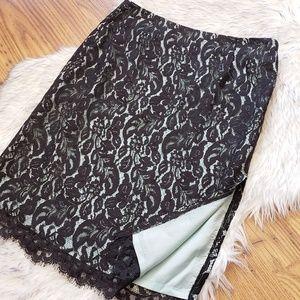 Trina Turk Black Lace Pencil Skirt Slit Size 2